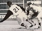 Roberto Clement #21 Slides Safely Into 2nd Base At World Series Vs The Yankees