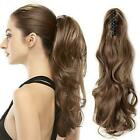 """16"""" Claw On Ponytail Clip In Natural Human Hair Extensions Curly Hairpiece 95g"""
