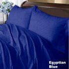 Super Deep Pocket Fitted Sheet 100%Cotton US Sizes Egyptian Blue Stripe image