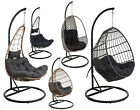 Hanging Rattan Swing Patio Garden Egg Chair - Moon, Oval Or Pear - Grey Or Brown