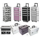 4 in1 Rolling Aluminum Makeup Train Case Trolley Beauty Box Organizer Cosmetic