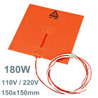 180W 110V / 220V 150x150mm 3D Printer Silicone Heater Heated Bed Pad Heating