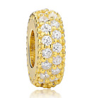 DIY Gold European CZ Charm White Crystal Spacer Beads Fit Necklace Bracelet