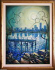 Kym Hart (1965-) Major Large Original Oil Paintng Brisbane Skyline & River Scene
