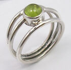 COMBINED SHIPPING, 925 Sterling Silver CABOCHON PERIDOT GEM 3 WIRE Ring Any Size