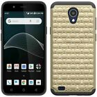 For AT&T AXIA (QS5509A) Studded Rhinestone Crystal Hard Hybrid TPU Rubber Case