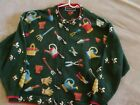 "Christine Foley Vintage Long Sleeve ""Garden Tools and Bees"" Cardigan Sweater"