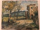 Antique Mid Century Landscape Impressionist Oil Paintng on Wood Board b