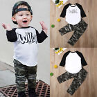 US Toddler Baby Boys Clothes Top Shirt Camouflage Ripped Pants Casual Outfit Set