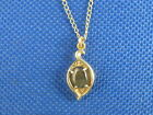 VINTAGE ANSON 14K YELLOW GOLD LABRADORITE PENDENT WITH 16 IN  14K GOLD CHAIN.