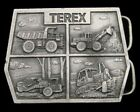 PE16113 *NOS* VINTAGE 1970s **TEREX** CONSTRUCTION MINING PEWTER BELT BUCKLE