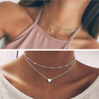 Uk Womens Necklace Heart Chain Choker Beaded Silver Gold Pendant Long Gift Girls