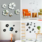 3d Removable Butterfly Flower Mirror Acrylic Wall Stickers Home Room Decal Decor