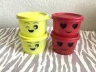 Tupperware Snack Cups 4 oz Containers Set of 4 Red Lime Green New
