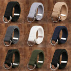 Mens Womens Canvas Belt with Double D Ring Metal Buckle Fashion Waistband New