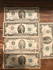 1976 & 1995  $2 TWO DOLLAR BILL Lot Of 5 Circulated