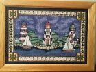 "Vintage Lighthouse Tapestry Framed 16"" x 22"" Hand Mounted Colorful Nautical Sail"