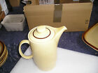 Poole pottery coffee pot /water pot in yellow speckled broadstone pattern vgc