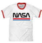 MENS NASA LOGO RINGER T-SHIRT WHITE WITH RED CLASSIC RETRO TEE TOP NEW image