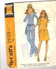 McCall's Sewing Pattern #2659 Vintage Misses Size 9 /10 1970's Dres Top Pants