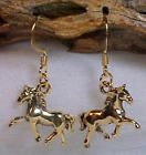 Pewter HORSE Charm Earrings Your Choice Gold or Silver 0504H2 image