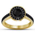 Women's 14K Yellow Gold Fn 1.35 Cts Round Black Diamond Engagement Ring Wedding