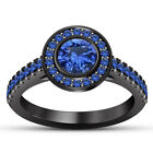 Women's 14K Black Gold Fn 1.35 Cts Round Blue Sapphire Engagement Ring Wedding