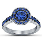 Women's 14K White Gold Fn 1.35 Cts Round Blue Sapphire Engagement Ring Wedding
