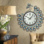 Elegant Peacock Antique Large Wall Clock Metal Living Room Wall Clock Home Decor