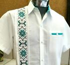 Presidential style white Guayabera linen cross stitch wedding cassual button dow