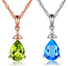 925 Sterling Silver Pear Crystal Pendant Chain Necklace Women Jewellery Xmas Uk