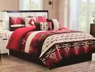 7 Piece Comforter Set Bed Skirt Western Southwest Aztec Rustic Red Queen/King image