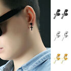 2pcs Unisex Stainless Steel Cross Dangle Ear Stud Earrings Jewelry for Women Men image