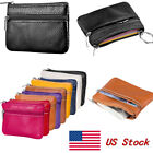US Women Men Leather Portable Coin Purse Wallet Clutch Zipper Small Soft Bag image