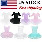 US Kids Girls Ballet Dance Leotard Gymnastics Tutu Skirt Dress Ballerina Costume