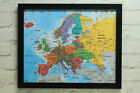 Europe Map Framed Cork Pin Board Including Pins