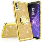 For Samsung A50 A70 A30 Case Glitter Stand Diamond Ring Holder Shockproof Cover