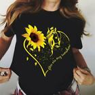 Sunflower Horse Lover You Are My Sunshine Ladies T-Shirt Cotton S-3XL