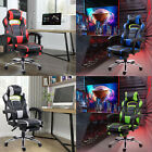Gaming Racing Chair Office Computer Footrest Adjustable Swivel Recliner Leather