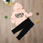 Fashion Kids Baby Girls Hooded Tops Pants Tracksuit Sportswear Outfits Clothes