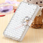 Bling Glitter Flip Leather Diamond Bowknot Wallet Case Card Slot Stand Cover