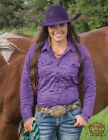 Cowgirl Tuff Women's Faux Button Up Purple Athletic Jersey 100256