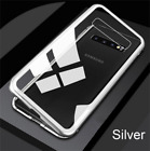 Magnetic Adsorption Flip Metal Case For Samsung S10 S9 S8 Tempered Glass Cover