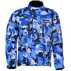 Blue Camo Waterproof Motorbike Motorcycle Jacket Camouflage Cordura CE Armoured