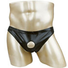 Sexy Men's Patent Leather Jockstrap Open Front Briefs Thongs G-string Underwear