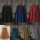 Womens Vintage A-line Stretch High-Waist Skater Flared Pleated Midi Skirt Dress