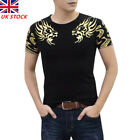 Mens Dragon Tattoo Printed Slim Fit Short Sleeve T-Shirts Casual Blouse T #nts