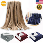 Reversible Soft Cozy Flannel/Sherpa Throw Blanket Fleece for Sofa Couch Bed US image