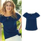 AVON Ladies Womens Navy Blue Bardot Short Bell Sleeve Summer Tops Size 10 12