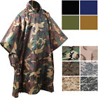 Tactical Waterproof Rain Poncho Camo Ripstop Military Hooded Body Cover